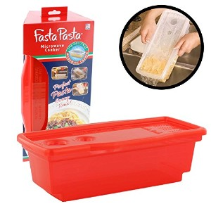 Microwave Pasta Cooker - The Original Fasta Pasta (Red) - No Mess, Sticking or Waiting for Boil by...