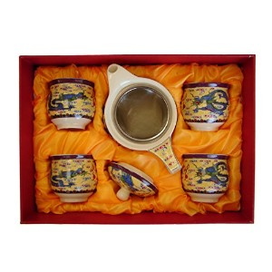 Tea Sets with Dragon Pictures-yellow tea set