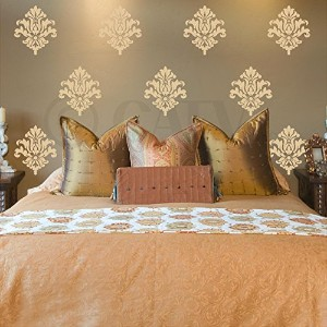 Damask Pattern (Set of 10) wall saying vinyl lettering home decor decal stickers quotes (Beige) by...