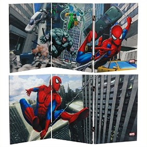 Oriental Furniture 2 ft. Tall Double Sided Friendly Neighborhood Spider-Man Canvas Room Divider by...