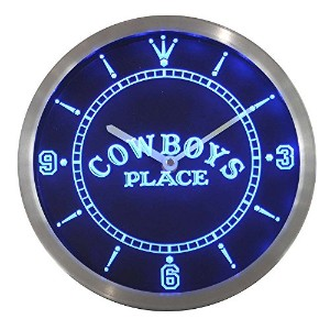 LEDネオンクロック 壁掛け時計 nc0363-b Western Cowboys Place Bar Beer Neon Sign LED Wall Clock