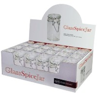 Grant Howard 50520 3.06-Ounce Cylindrical Clear Glass Spice Jar, Set of 24, Small [並行輸入品]
