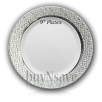 buyNsave White with Silver Heavyweight Plastic Elegant Disposable Plates, Wedding Party Elegant...