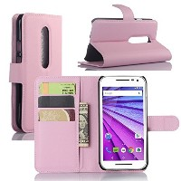 Premium Leather Wallet [ Flip Bracket ] Case Cover with Stand Card Holder for Motorola Moto G 3rd...