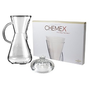 Chemex Glass 15 Ounce Coffee Maker with Cover and 100 Count Bonded Half Circle Coffee Filters by...