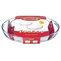 Arcuisine Borosilicate Glass Oval Roaster 2pc Set (11.8 x 8.3-Inch, 15.4 x 10.6-Inch) by Internation...