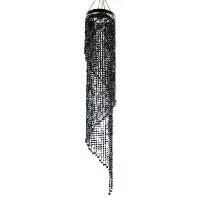 Black Chandelier Spiral Faux Crystal Beaded Hanging Lamp Light HLL10-BLK by Retro & More