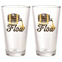 """"""" Go with the Flow """" Beer Pint Glasses"""