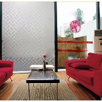 Coavas Non-Adhesive Frosted Square Joining Together Glass Film For Meeting Rome/Mall Glass Wall ...