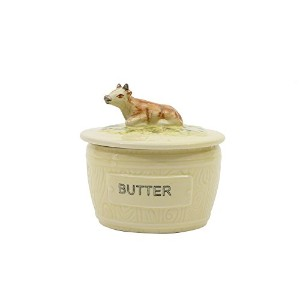 Creative Co-op DA4916 Round Vintage Reproduction Stoneware Butter Dish with Cow, Multicolor by...