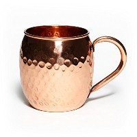Moscow Mule Copper Mug - Pure Solid Copper Mugs, 16oz, Unlined Handcrafted Hammered Copper Cups -...