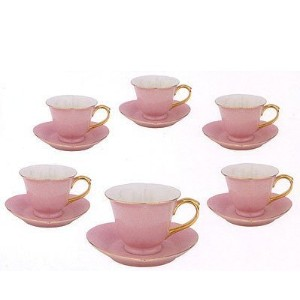Inside Out Heart: Cup & Saucer 5 oz- Pink/Gold (Set of 6) by Yedi House