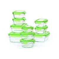 Tempered Glasslock Storage Containers 20pc set Green Lids Microwave & Oven Safe Airtight Anti Spill...