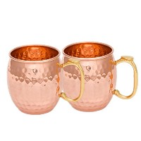 StreetクラフトハンドメイドPure Copper Hammered Moscow Mule Mug Thumbs handle-16 Oz (ブラウン) 16 oz ブラウン SCI-CTMM...