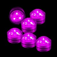 CYS Floral LED Lights, Submersible, Pink. On/Off switch, Reusable (6 pcs) by Modern Vase & Gift