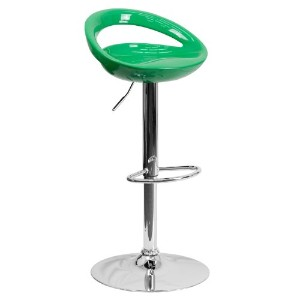 Flash Furniture Contemporary Green Plastic Adjustable Height Barstool with Chrome Base by Flash...