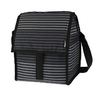 [PackIt]PackIt Freezable Deluxe Large Lunch Bag with Shoulder Strap, Gray Stripe PKT-DX-STR [並行輸入品]