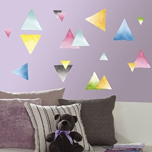 RoomMates RMK2857SCS Watercolor Triangle Peel and Stick Wall Decals (Set of 4), 10' x 18' [並行輸入品]