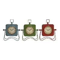 Deco 79 Metal Table Clock, 3 Assorted, 10 by 13' [並行輸入品]