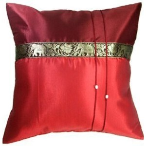 "Artiwa® 16""x16"" Red Throw Decorative Silk Accent Pillow Cover for Sofa Bed Couch : Thai Elephants..."