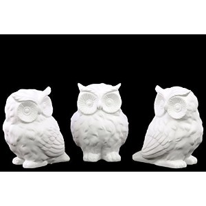 Urban Trends Porcelain Owl, Assortment of Three, Matte White by Urban Trends [並行輸入品]