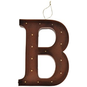 The Gerson会社「B」LED照明付きメタルLetter with Rustic Brown Finish