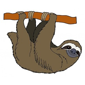 Wallmonkeys WM127180 Cartoon Animal - Sloth - Flat Coloring Style Peel and Stick Wall Decals (18 in...