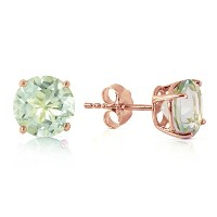 K14 Rose Gold Stud Earrings with Natural Green Amethysts