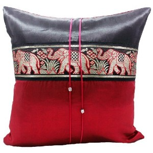 "Phumpanya 16""x16"" Red Throw Decorative Silk Accent Pillow Cover : Thai Elephants Large Stripe Gift..."