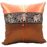 "Phumpanya 16""x16"" Orange Throw Decorative Silk Accent Pillow Cover : Thai Elephants Large Stripe..."