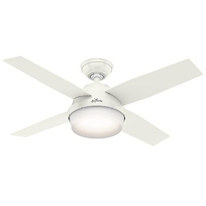 Hunter Fan Company 59246 Contemporary Dempsey Fresh White Ceiling Fan With Light & Remote, 44""