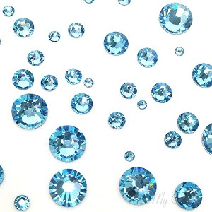 AQUAMARINE (202) lake blue 144 pcs Swarovski 2058/2088 Crystal Flatbacks lake blue rhinestones nail...