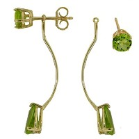 K14 Yellow Gold Stud and Drop Earrings with Natural Peridots