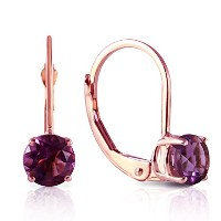 K14 Rose Gold Leverback Earrings with Amethyst