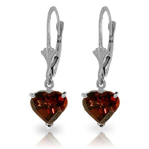 K14 White Gold Leverback Earrings with Natural Garnets