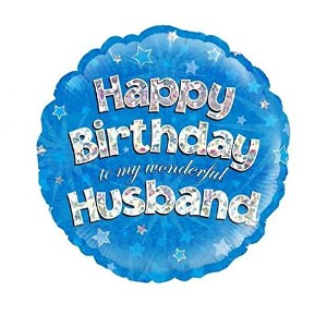 "Happy Birthday Husband Blue Holographic Foil Balloon 45cm (18"")"