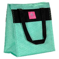 LUNCH TOTE TEAL FLOWER