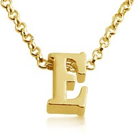 Initial Letter E Personalized Serif Font Pendant Necklace (gold-plated-silver, 18 Inches)