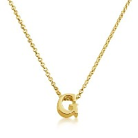 Initial Letter G Personalized Serif Font Pendant Necklace (gold-plated-silver, 18 Inches)