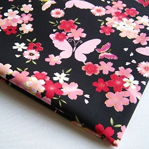 Np Fabric Pink Red Cherry Blossom Flower Butterfly in Night on Black Fabric 36 by 36-Inch Wide (1...