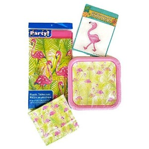 Flamingo Party Paper Plate and Napkin Set of 4 Bundle by Party Creations