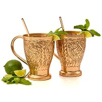 Moscow Mule Pure Copper Mugs with Bonus Copper Straws/Stir Sticks for Russian, Vodka or Moscow...