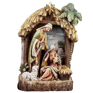 Holy Family Creche Nativity Resin Stoneware Christmas Decoration Figurine [並行輸入品]