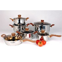 Uniware High Quality Stainless Steel Cookware Set (12 Pcs Stainless Steel Brown Handle Pot and Pan...