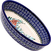 Polish Pottery Ceramika Boleslawiec-1210/169 9-2/3 by 6 7/10-Inch Oval Mirek Baker 2, Royal Blue...