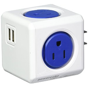 PowerCube Original USB, Electric Outlet Wall Adapter Power Strip with 4 outlets, Dual USB Port and...