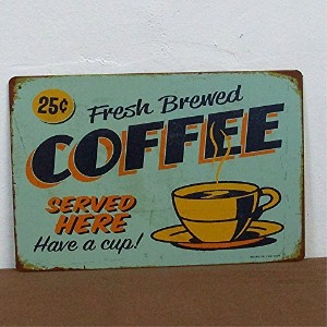 RETRO METAL WALL SIGN TIN PLAQUE VINTAGE SHABBY CHIC COFFEE KITCHEN LOUNGE BAR LIFE SIZE 20X30 CM...