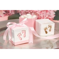 Pink Baby Shower Box Kit for Baby Girl with Baby Feet Cut Out. Makes 12 Boxes - Includes Pink Satin...