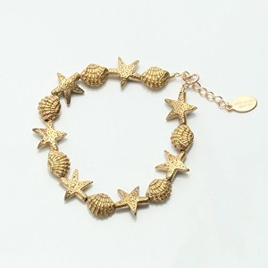 chibi jewels チビ ジュエルズ B136 Starfish and Cockle Shell Bead Bracelet (カラー:Brass)