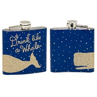 Stainless 6 oz. Golden-Flaked Enameled DRINK LIKE A WHALE 4.25-inch Flask by About Face Designs